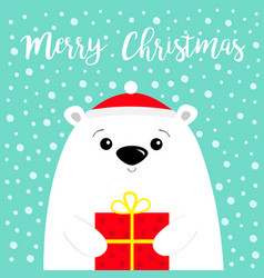 Merry christmas white polar bear cub face holding vector