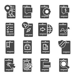 minimal set of mobile phone flat icons vector image