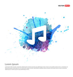 music note icon - watercolor background vector image