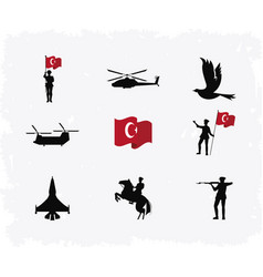 Nine zafer bayrami icons vector
