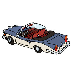 Old blue and white convertible vector