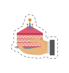 Party piece cake in hand icon image vector