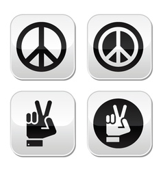 Peace hand gesture buttons set vector