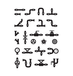 Pipe symbols gas or water pipelines steam vector