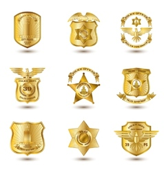 police badges gold vector image