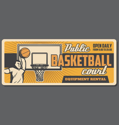 public basketball court player and ball in basket vector image