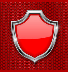 Red shield sign decline 3d symbol on red vector