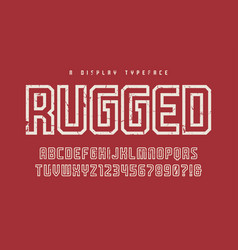 Rugged display typeface font uppercase vector