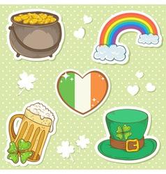 Saint Patricks Day stickers elements bowler vector