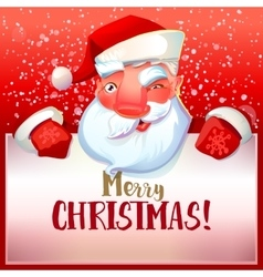 Santa winks and greetings vector image