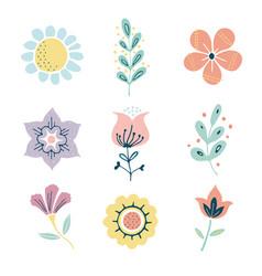 Scandinavian herbs and flowers set vector