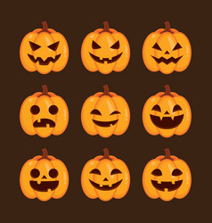 seamless halloween pattern set icon vector image