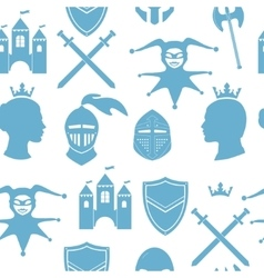 Seamless pattern with medieval icons vector