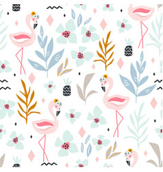 seamless tropical pattern with flamingos flowers vector image