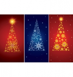 set of decorative Christmas trees vector image
