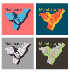 Set of flat line art design - mombasa city map vector