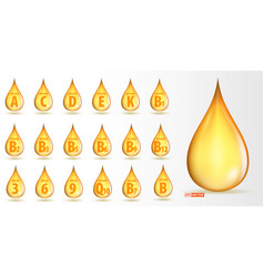 Set of realistic vitamin gold oil drop isolated vector