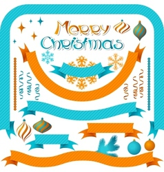 set retro ribbons and labels with christmas vector image
