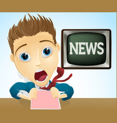 shocked tv news presenter vector image