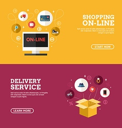 Shopping on-line delivery service set flat vector