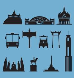 silhouette icon set bangkok city landmark vector image