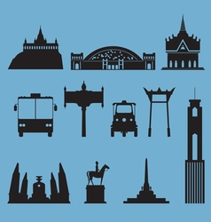 Silhouette icon set of Bangkok city landmark vector image