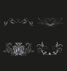 Silver floral for design vector