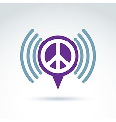 Speech bubble with peace symbol from 60th Podcast vector