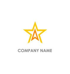 Star triangle line logo vector