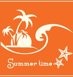 Summer time graphic image with sea wave and vector
