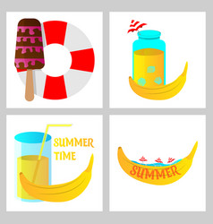 Summer time poster with cute summer in cartoon vector