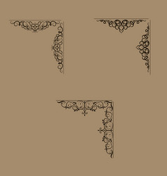 Swirl floral design set vector