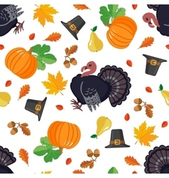 Thanksgiving seamless pattern in flat style vector