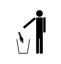 The person throws out in a recycle bin of the man vector image