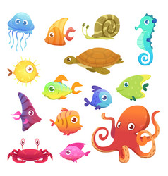underwater animals ocean sea animals fish octopus vector image