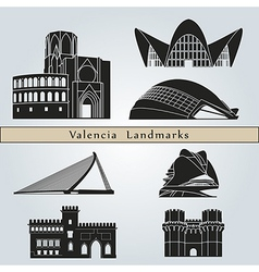 Valencia landmarks and monuments vector