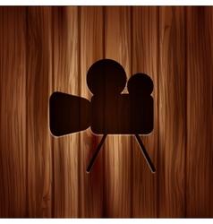 Video camera icon Media symbol Wooden texture vector