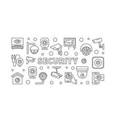 video security concept horizontal line vector image