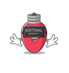 virtual reality christmas lights on mascot vector image