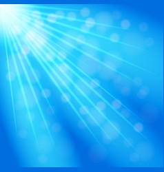 White rays on a blue background with glare flash vector