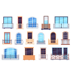 windows and balconies architecture house facade vector image