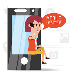 Woman seated with smartphone in the hand called vector