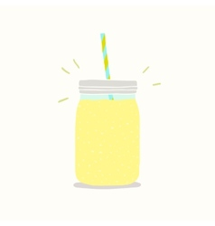 Yellow smoothie in a jar vector