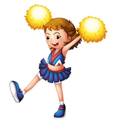 A cheerleader with yellow pompoms vector image vector image