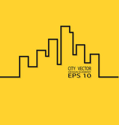 city contour on a yellow background design element vector image vector image