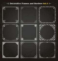 decorative square frames and borders set 4 vector image vector image