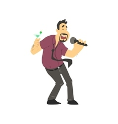 Drunk Man Singing In Karaoke vector image vector image