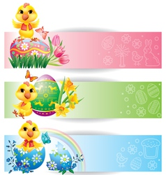 Easter colorful horizontal banners with chicken vector image vector image