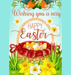 easter egg hunt basket with flowers poster design vector image vector image