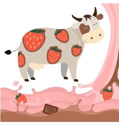 Fruit strawberry chocolate milk cow milk splash vector image vector image